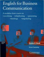 English For Business Communication Student's Book - Cambridge