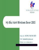 Giáo án - Bài giảng học tập công nghệ thông tin:  window server 2003 cài đặt và giới thiệu cơ bản