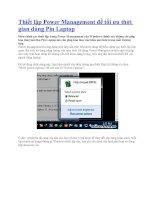Thiết lập power management để tối ưu thời gian dùng pin laptop