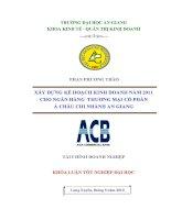 xây dựng kế hoạch kinh doanh năm 2011 cho ngân hàng thương mại cổ phần á châu chi nhánh an giang