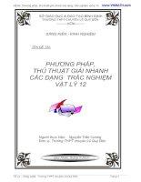 Phương pháp giải nhanh trắc nghiệm vật lý 12