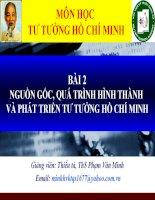 nguồn gốc, quá trình hình thành và phát triển tư tưởng Hồ Chí Minh