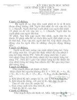 Đề thi học sinh giỏi vật lí lớp 9 tỉnh hải dương (kèm đáp án) đề 3
