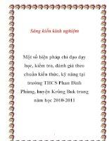 SKKN: Một số biện pháp chỉ đạo dạy học, kiểm tra, đánh giá theo chuẩn kiến thức, kỹ năng tại trường THCS Phan Đình Phùng, huyện Krông Buk trong năm học 2010-2011