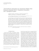 thermoelectric generators for automotive waste heat recovery systems part ii parametric evaluation and topological studies
