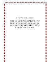 Một số kinh nghiệm sử dụng phần mềm Vemis_Library để quản lý thư viện theo tiêu chuẩn thư viện 01