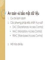 Hệ quản trị Cơ sở dữ liệu Chuong III An toàn vả bảo mật dữ liệu