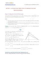 Các dạng bài toán hình học giải tích trong hệ tọa độ phẳng oxy ôn thi đại học 2013
