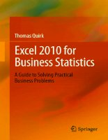 excel 2010 for business statistics a guide to solving practical business problems