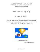 Đề tài: Ứng dụng năng lượng sạch vào phát triển kinh tế vùng Nam Trung Bộ - tác giả: Võ Hoàng Phi
