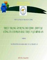 THỰC TRẠNG ÁP DỤNG ISO 22000 : 2005 TẠI CÔNG TY CỔ PHẦN DẦU THỰC VẬT BÌNH AN