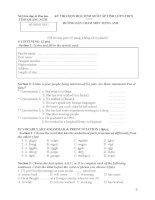 Tuyển chọn tổng hợp đề thi và đáp án thi học sinh giỏi các tỉnh môn anh lớp 9