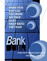 phân tích báo cáo tài chính ngân hàng thương mại cổ phần xuất nhập khẩu việt nam