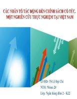Tiểu luận: Các nhân tố tác động đến chính sách cổ tức. Một nghiên cứu thực nghiệm tại Việt Nam