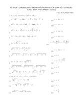 kĩ thuật giải phương trình vô tỉ bằng cách đưa về tích hoặc tổng bình phương