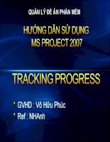Hướng dẫn sử dụng MS Project 2007 Tracking Progress