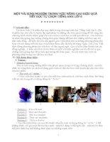 Một vài kinh nghiệm trong việc nâng cao hiệu quả giảng dạy tiết tự chọn tiếng anh lớp 6 tham khảo