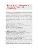 Tập hợp các từ tiếng anh verb  to inf