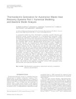 thermoelectric generators for automotive waste heat recovery systems part i numerical modeling and baseline model analysis