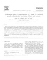 Analysis and practical implementation of a model for combined growth and metabolite production of lactic acid bacteria