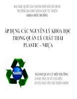 áp dụng các nguyên lý khoa học trong quản lý chất thải plastic - nhựa
