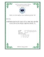 Tiểu luận: Chính sách tỷ giá của Trung Quốc và cán cân mậu dịch châu ÁTiểu luận: Chính sách tỷ giá của Trung Quốc và cán cân mậu dịch châu Á