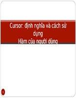 Cursor Định nghĩa và cách sử dụng hàm của người dùng