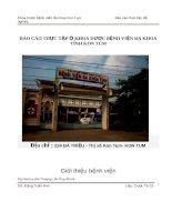 Báo cáo thực tập Y sĩ tại Khoa Dược Bệnh viện Đa khoa tỉnh Kon Tum