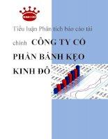 Tiểu luận phân tích báo cáo tài chính Công ty Cổ phần bánh kẹo Kinh Đô