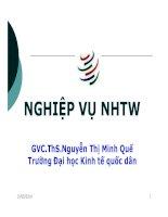 Bải giảng nghiệp vụ ngân hàng trung ương chương 1   GVC ths nguyễn thị minh quế