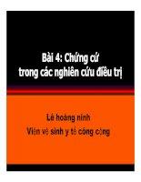 Bài giảng Y học chứng cứ: Bài 4 - PGS.TS. Lê Hoàng Ninh