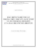 đặc điểm nghệ thuật trong tiểu thuyết jane eyre và wuthering heights của hai chị em nhà bronte