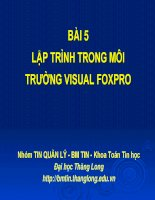 Bài 5: Tin Quản lý Visual Foxpro - Giới thiệu môn học - Lập trình trong môi trường Visual Foxpro