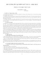 Đề cương ôn tập môn ngữ văn 12