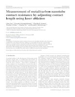 measurement of metalcarbon nanotube contact resistance by adjusting contact length using laser ablation