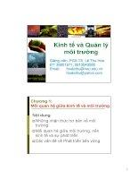 Bài giảng Kinh tế và Quản lý môi trường: Chương 1 - Phó giáo sư-thạc sĩ Lê Thu Hoa