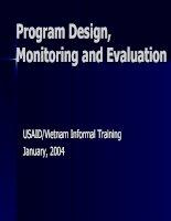 program design, monitoring and evaluation
