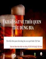 khảo sát về thói quen tiêu dùng bia