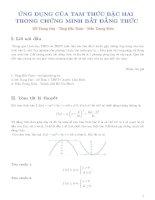 ứng dụng của tam thức bậc hai