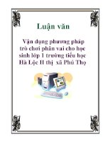 Luận văn: Vận dụng phương pháp trò chơi phân vai cho học sinh lớp 1 trường tiểu học Hà Lộc II thị xã Phú Thọ pptx