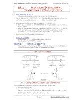 Báo cáo thí nghiệm điện tử tương tự-Bài 2 : Mạch Khuếch Đại Dùng Transistor Lưỡng Cực (BJT) docx