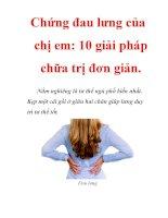 Bệnh đau lưng, mỏi gối của phụ nữ và các món ăn, các mẹo, các bí quyết chữa bệnh đau lưng
