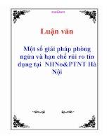 Luận văn: Một số giải pháp phòng ngừa và hạn chế rủi ro tín dụng tại NHNo&PTNT Hà Nội ppt