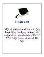 Luận văn: Một số giải pháp nhằm mở rộng hoạt động tín dụng tài trợ xuất nhập khẩu tại ngân hàng TMCP XNK Việt Nam chi nhánh Hà Nội docx