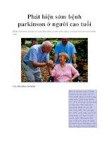 Phát hiện sớm bệnh parkinson ở người cao tuổi pptx