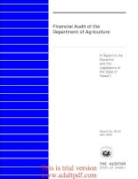Financial Audit of the Department of Agriculture A Report to the Governor and the Legislature of the State of Hawai`i Report No. 05-02 April 2005_part1 docx