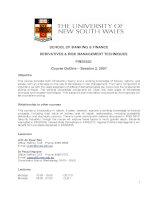 SCHOOL OF BANKING & FINANCE DERIVATIVES & RISK MANAGEMENT TECHNIQUES FINS5535 Course Outline – Session 2, 2007 pot
