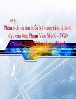 Đề tài phân tích và tìm hiểu kỹ năng tâm lý lãnh đạo của ông Phạm Văn Mười