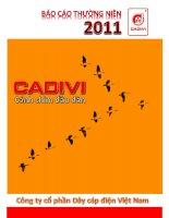 báo cáo thường niên 2011 cadivi cánh chim đầu đàn công ty cổ phần dây cáp điện việt nam