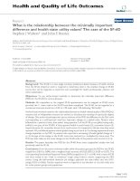 Health and Quality of Life Outcomes BioMed Central Research Open Access What is the relationship docx